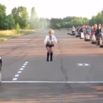 motorcycle vs car drag race epic fail