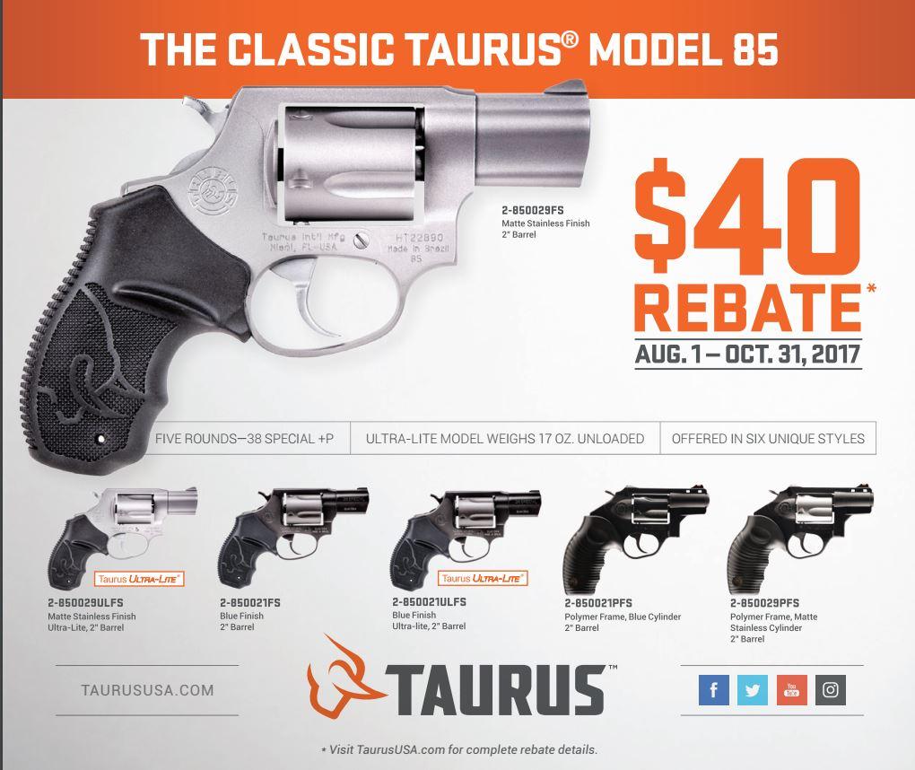 The Classic Taurus Model 85 $40 Rebate – August 1 – October