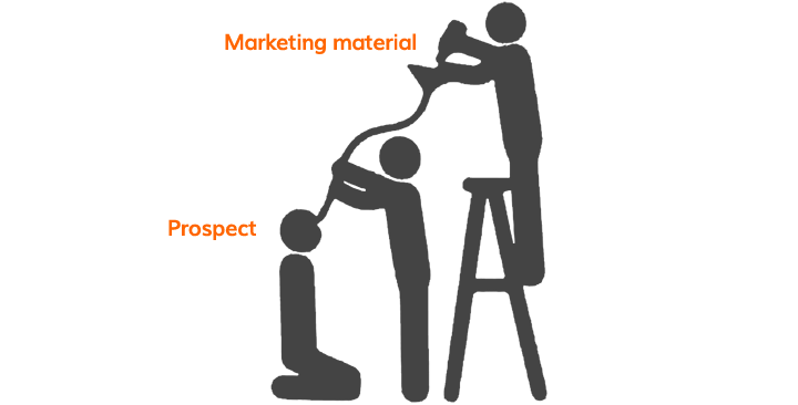 "Contrary to popular belief, a ""sales funnel"" does not refer to shoving a funnel down your prospect's throat and pouring marketing material in it"