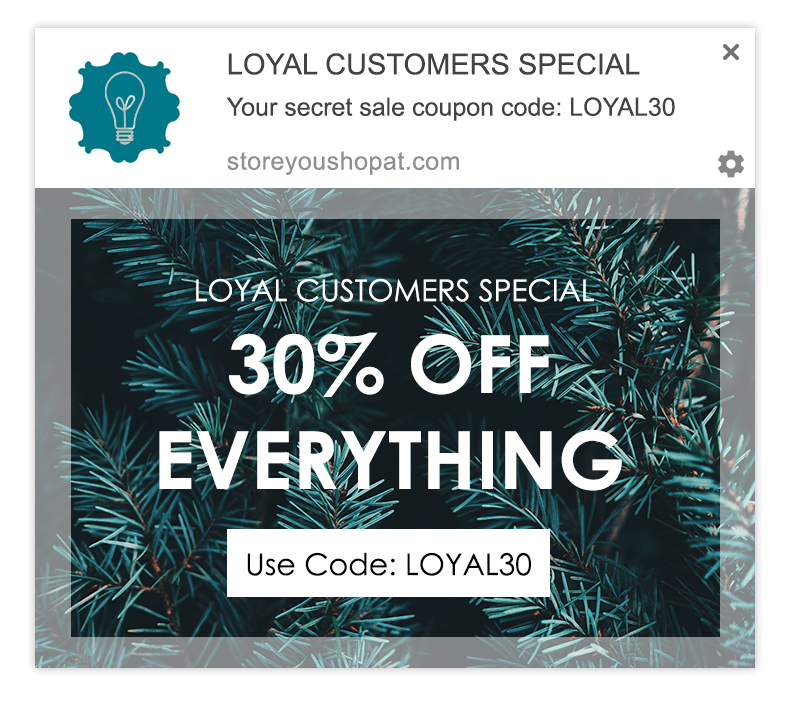 loyal customer web push