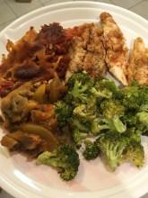 Dinner: Chicken, Broccoli, Eggplant