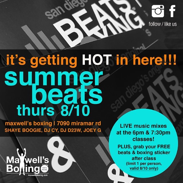 Summer's almost over! Come in this Thur, Aug 10th for Beats & Boxing and grab a free limited edition  sticker after class 🏼.Classes at 6pm and 730pm.Be sure to reserve your spot in class at www.MaxwellsBoxing.com or using the Mind Body App.If this is your first time, give us a callso we can count you in! 🏼..#boxing #sdboxing #maxwellsboxing #beatsnboxing #gyms #MindBody #grit #sweetscience #trainhard #competition #miramesa #miramar #delmar #carmelvalley #poway #ranchobernardo #rb #lajolla #clairemont