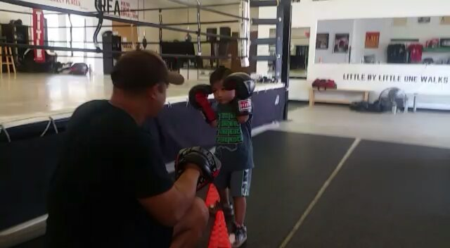 Our youngest student, Nathan, 3 years old.  Building up! Awesome kid #boxing #sandiegoboxing #gyms #sdgyms #fitness #strength #youths #sandiego #maxwellsboxing