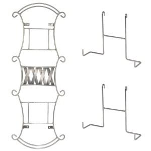 Raft metalic cu prindere de perete, 2 polite, doua suporturi agatatoare cu 4 pini, raft universal, suport ornamental, suport farfurii, holsuruburi incluse, Home Interiors, h 74 cm, gri-0