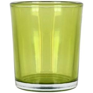Set 4 suporturi de lumanare tip pastila, Rasteli, sticla, Ø 5.5 cm, h 6.5 cm, verde transparent, art. 5907-52581