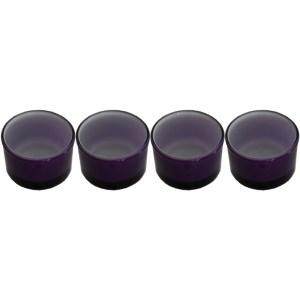 Set 4 suporturi de lumanari tip pastila, Rasteli, sticla, Ø 5 cm, h 3 cm, mov, art. 4263-0