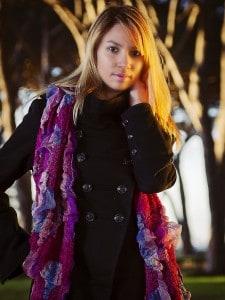 Black Jacket and Purple Scalf