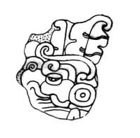 Figure 4.  Name of Naatz Chan Ahk on Naranjo Stela 45 (Field Drawing by Alexandre Tokovinine).