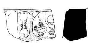 Figure 4. Piedras Negras Throne 3, found in fill within Structure O-17, 14 cm. long, found in 1999 field season (drawing by Stephen Houston)