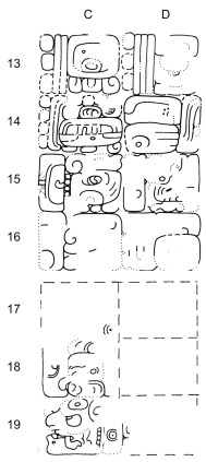 Figure 2. The 9.4.0.0.0 Period Ending, Tikal Temple VI (C13-D19): a) Photographs by Gordon Echols b) Drawing by William R. Coe.