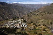 Peru-Canyon Cotahuasi Pampamarca village panorama