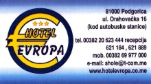Carte Hotel Evropa Podgorica 1