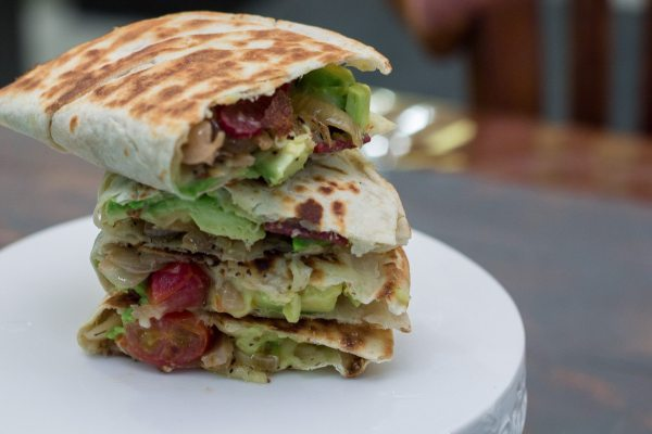 Caramelized onions, mushroom and avocado quesadillas