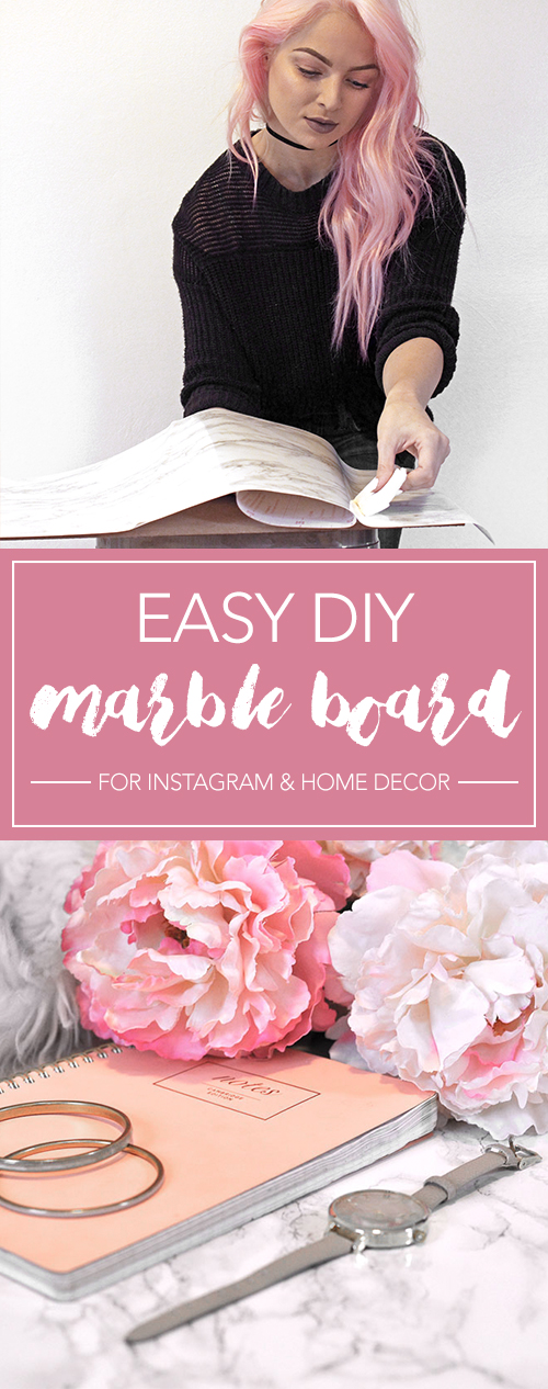 Want professional looking flat lays? Learn how to make this easy DIY marble backboard for Instagram photos. I LOVE this for room decor as well!