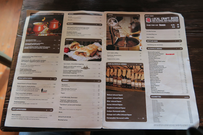 HOUSE OF legends menu lviv ukraine