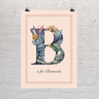 cvjetni inicijali sa cvijećem Slovo B