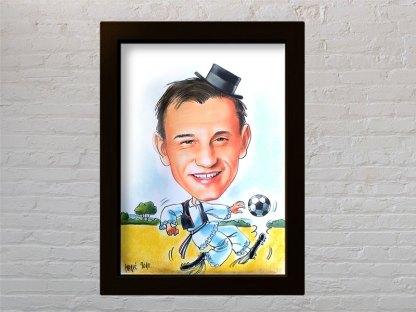 ivica olić slavonac u narodnoj nošnji igra nogomet poklon karikatura