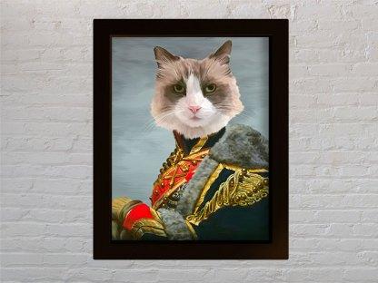 personalizirani portret kućnog ljubimca generalsko odijelo