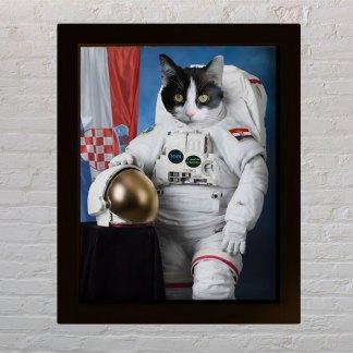 personalizirani portret kućnog ljubimca astronaut mačka
