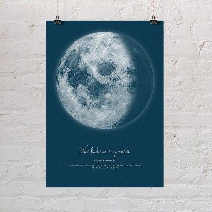 plave mjesečeve mijene za poklon za vjenčanje poster