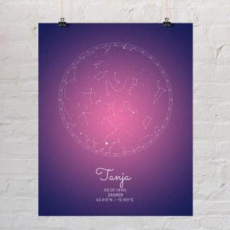 zvjezdana mapa ljubičasto roza poklon za rođenje djece