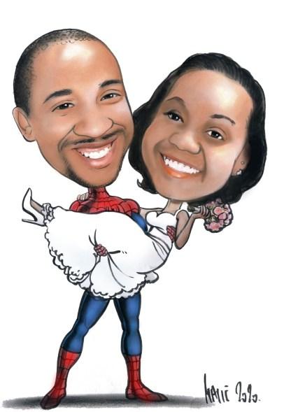 karikatura za vjenčanje maldog para