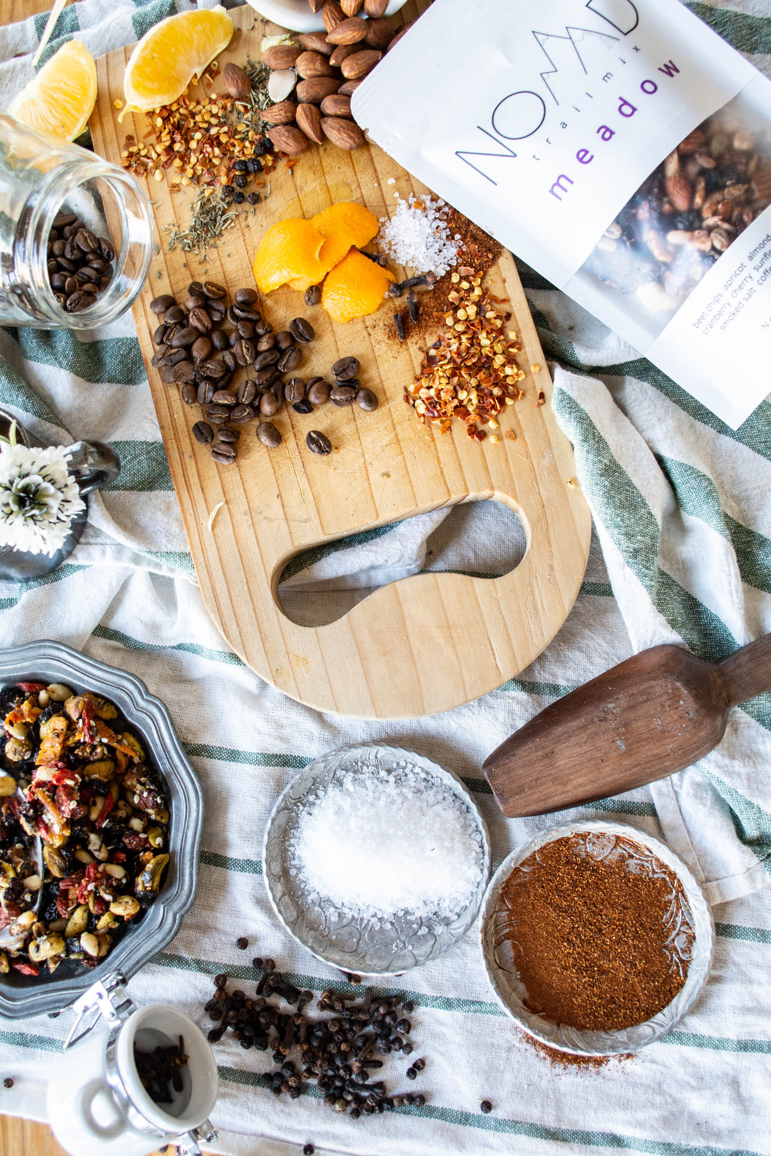 Raw food ingredients arranged on a table. food photography