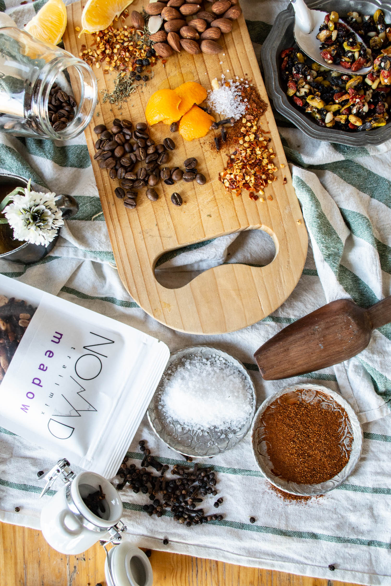Trail mix raw ingredients. Food photography