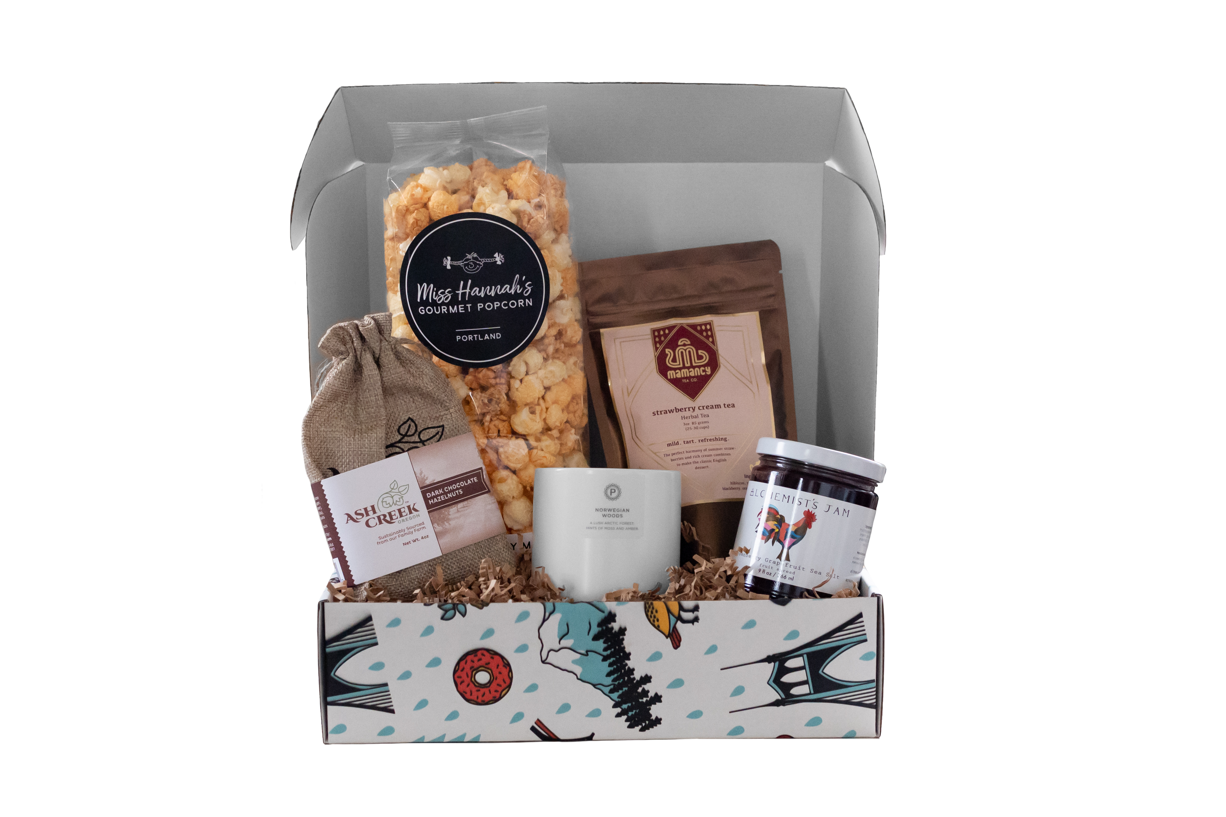 Women's Month box with candle, popcorn, jam. Ecommerce photography