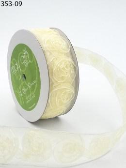 ivory organza rosette roses ribbon
