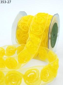 yellow organza rosettes roses ribbon