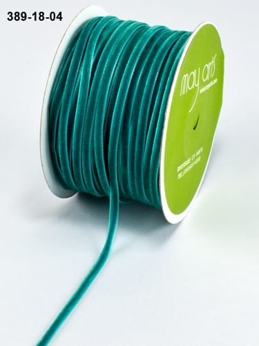 May Arts 389-18-04 Turquoise 5 yds. 1//8 inch Velvet Ribbon
