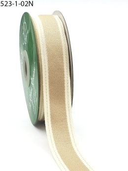 Natural Color Band Stitched Edge Cotton Ribbon