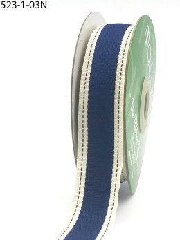 Navy Color Band Stitched Edge Cotton Ribbon