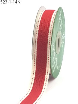 Red Color Band Stitched Edge Cotton Ribbon