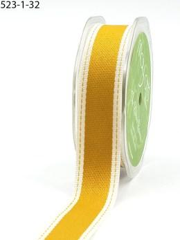 Gold Stitched Edge Cotton Ribbon