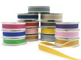 Color Band Stitched Edge Cotton Ribbon