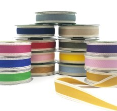 Color Band Stitched Edge Cotton Ribbon