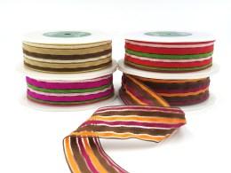 fuzzy terrycloth multicolor stripes ribbon