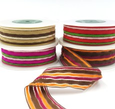 fuzzy terrycloth multicolor stripes ribbon