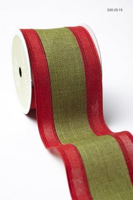 Red Green Linen Stripe Ribbon