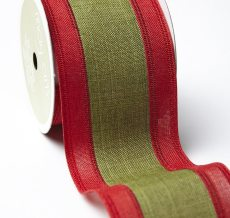Red Green Linen Stripe Ribbon