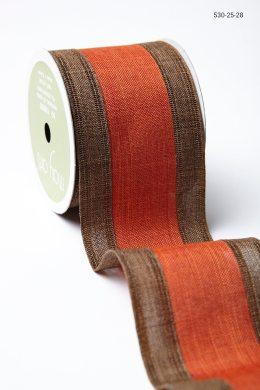 Brown Orange Linen Stripe Ribbon