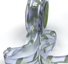 purple organza vine and flower embellished ribbon