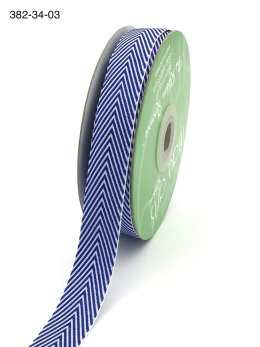 royal blue and white chevron twill ribbon