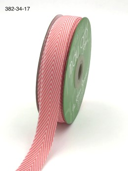bubblegum pink and white chevron twill ribbon