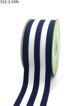 Navy and white striped grosgrain ribbon