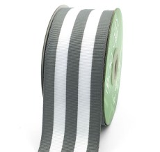 Grey Striped Grosgrain Ribbon
