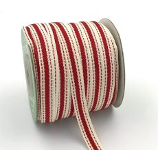 red stitched edge linen cotton ribbon