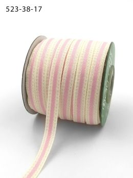 light pink stitched edge cotton linen ribbon